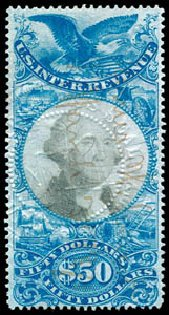 Cost of US Stamps Scott Catalog R131: US$50.00 1871 Revenue Documentary . Schuyler J. Rumsey Philatelic Auctions, Apr 2015, Sale 60, Lot 2696