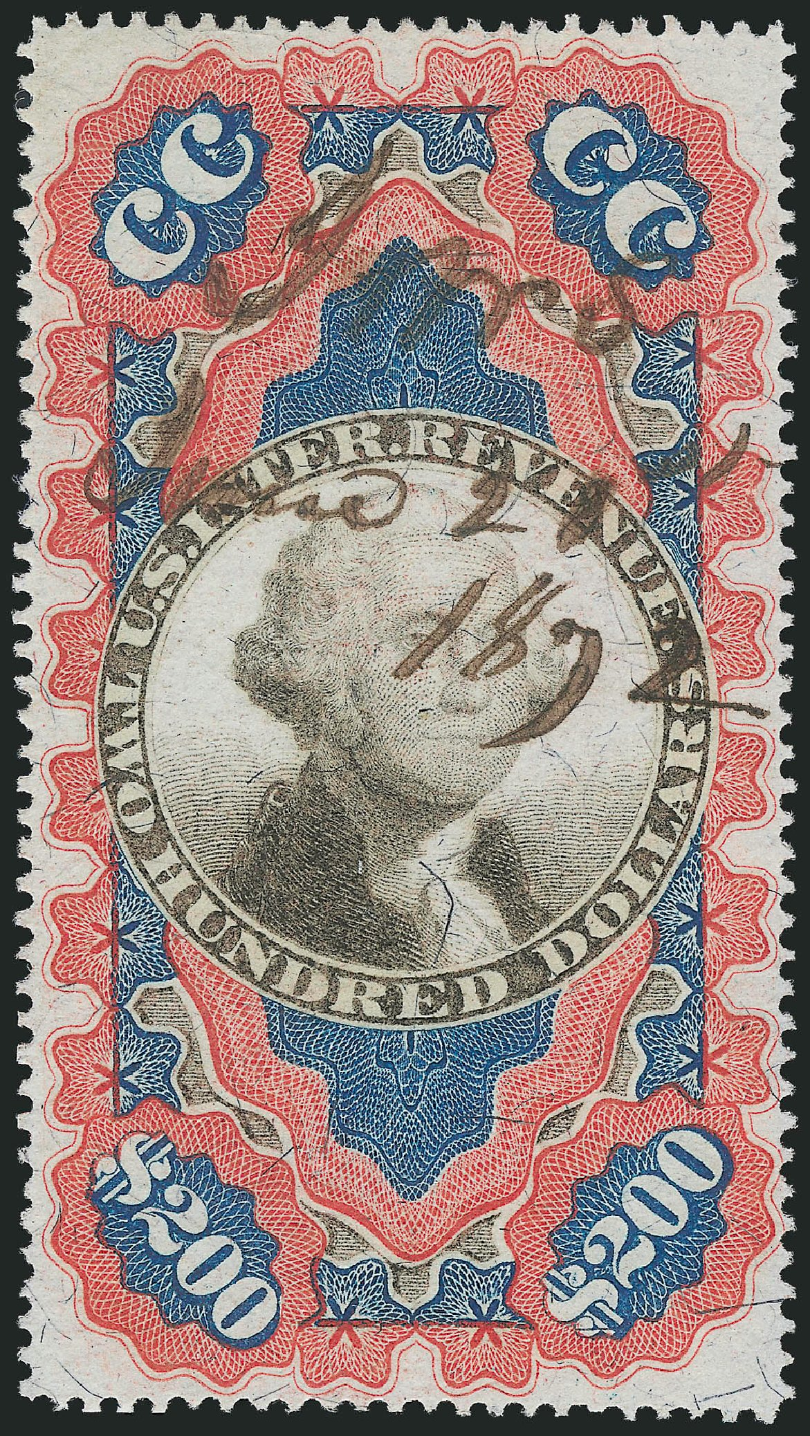 Values of US Stamps Scott Catalog R132 - 1871 US$200.00 Revenue Documentary . Robert Siegel Auction Galleries, Mar 2014, Sale 1066, Lot 88