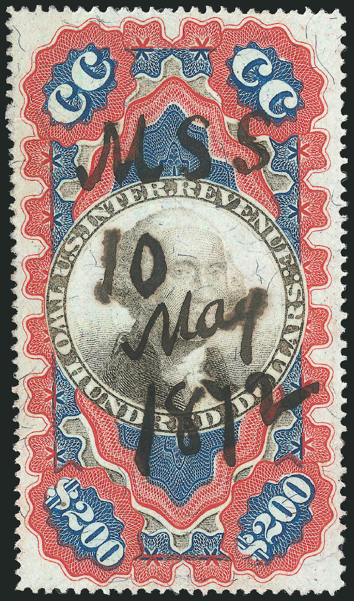 US Stamp Value Scott Catalog R132: US$200.00 1871 Revenue Documentary . Robert Siegel Auction Galleries, Jun 2015, Sale 1100, Lot 181