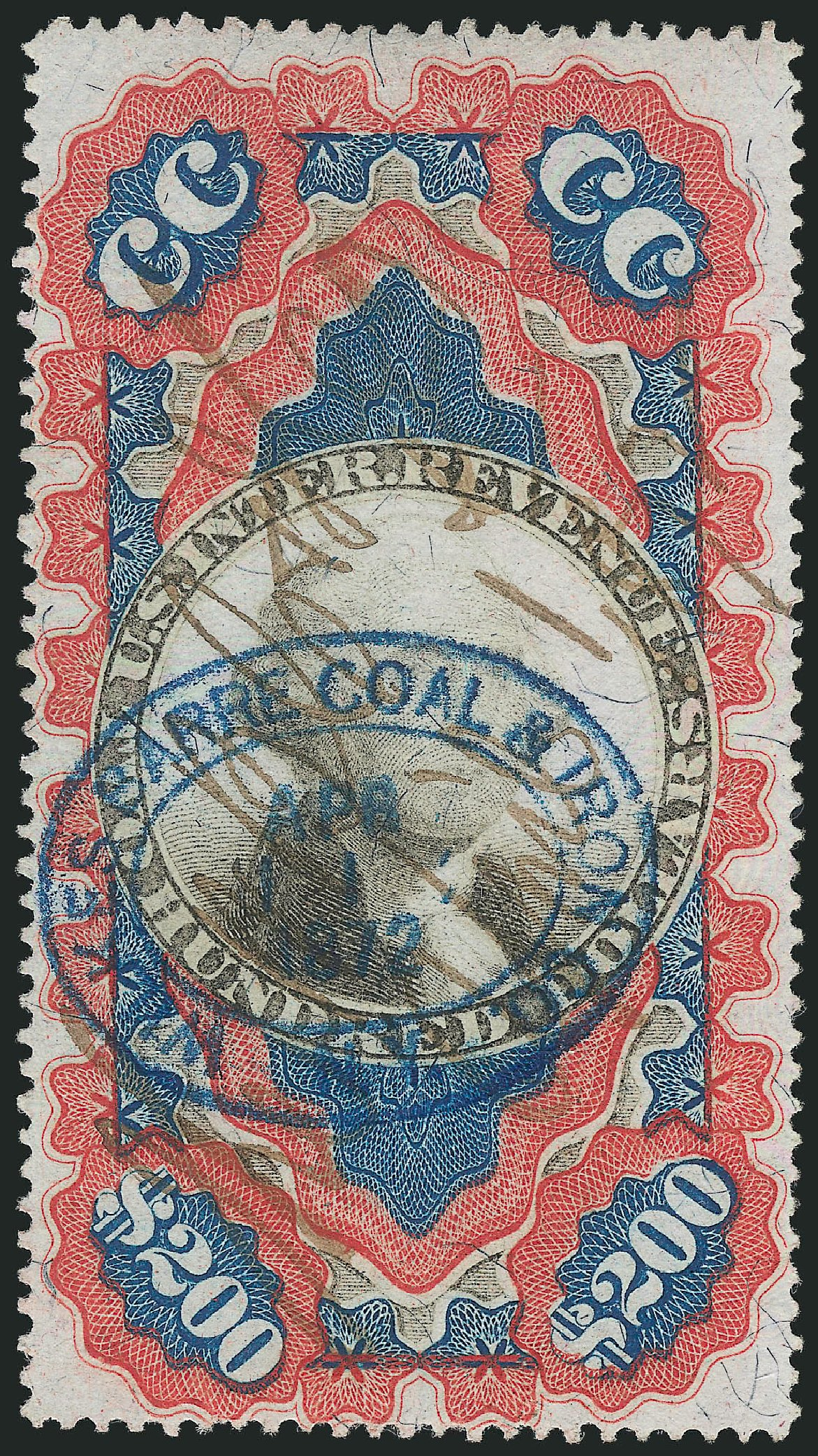 US Stamps Prices Scott Catalog R132: 1871 US$200.00 Revenue Documentary . Robert Siegel Auction Galleries, Mar 2014, Sale 1067, Lot 555