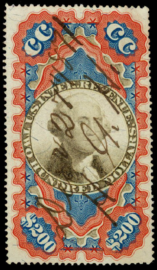 Costs of US Stamp Scott # R132: 1871 US$200.00 Revenue Documentary . Daniel Kelleher Auctions, Jun 2015, Sale 670, Lot 42