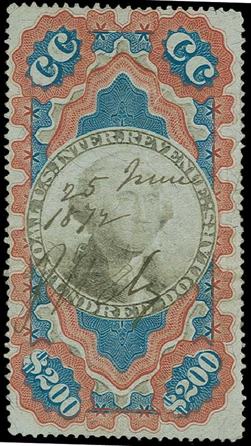 US Stamps Values Scott R132: 1871 US$200.00 Revenue Documentary . H.R. Harmer, Jun 2015, Sale 3007, Lot 3553