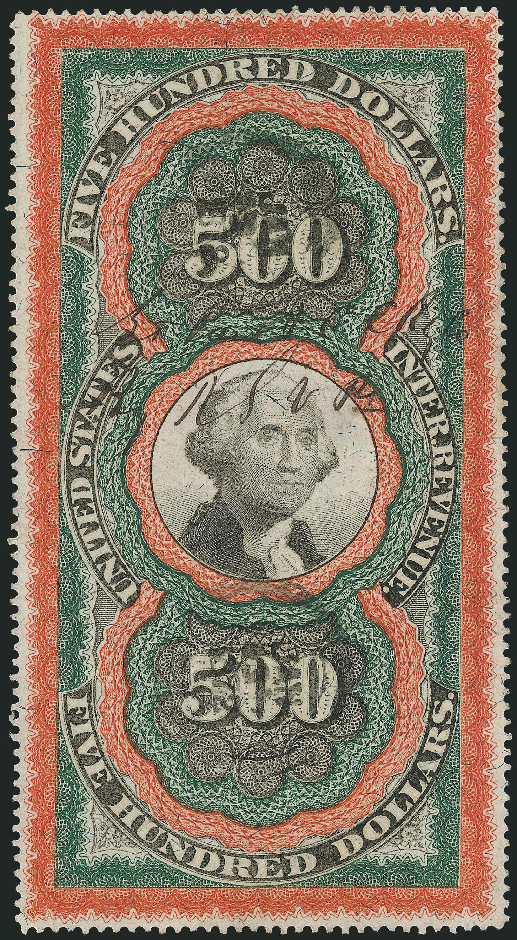 Values of US Stamp Scott Cat. #R133 - 1871 US$500.00 Revenue Documentary . Robert Siegel Auction Galleries, Dec 2013, Sale 1062, Lot 897