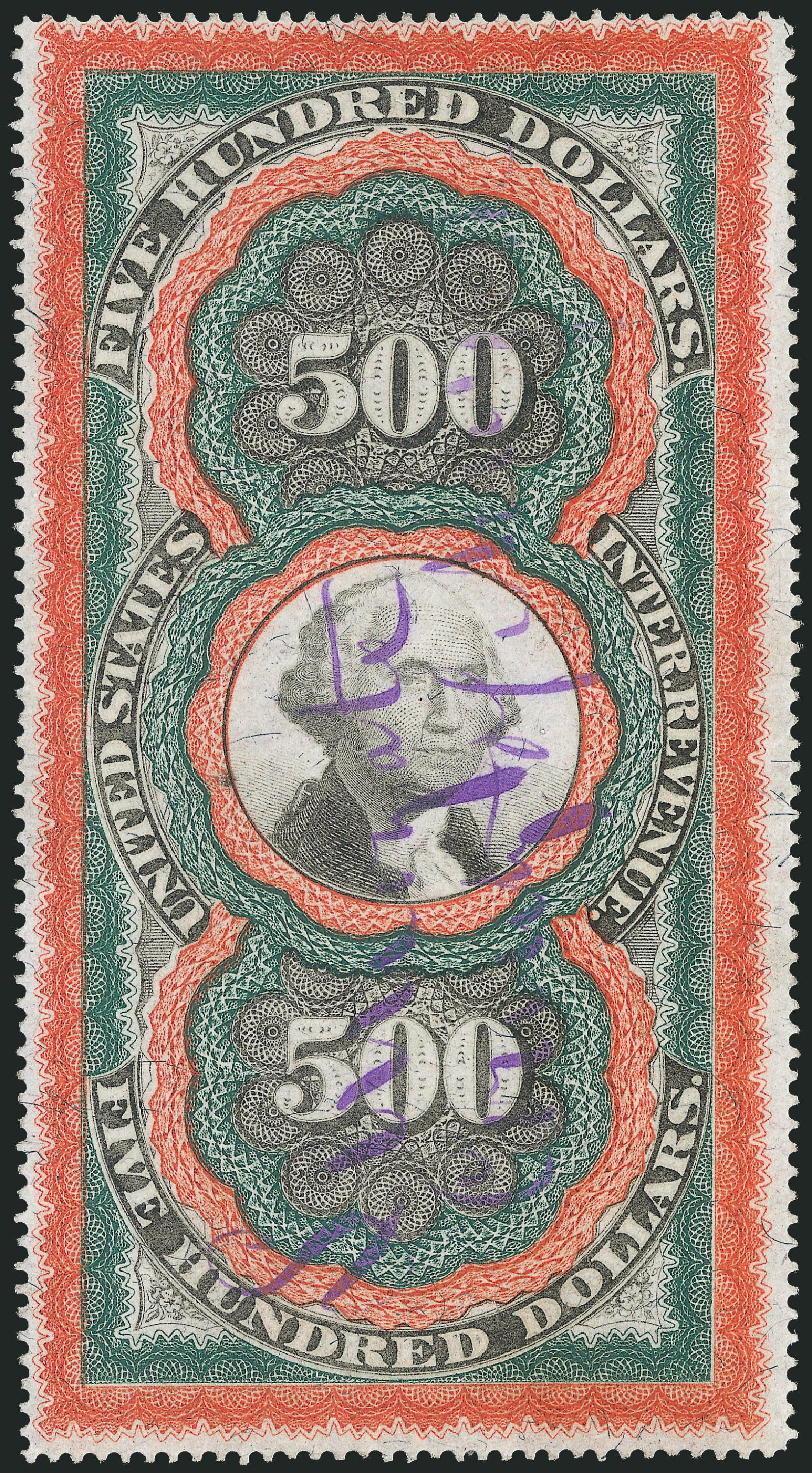 US Stamp Price Scott Catalog # R133 - 1871 US$500.00 Revenue Documentary . Robert Siegel Auction Galleries, Nov 2013, Sale 1061, Lot 4308