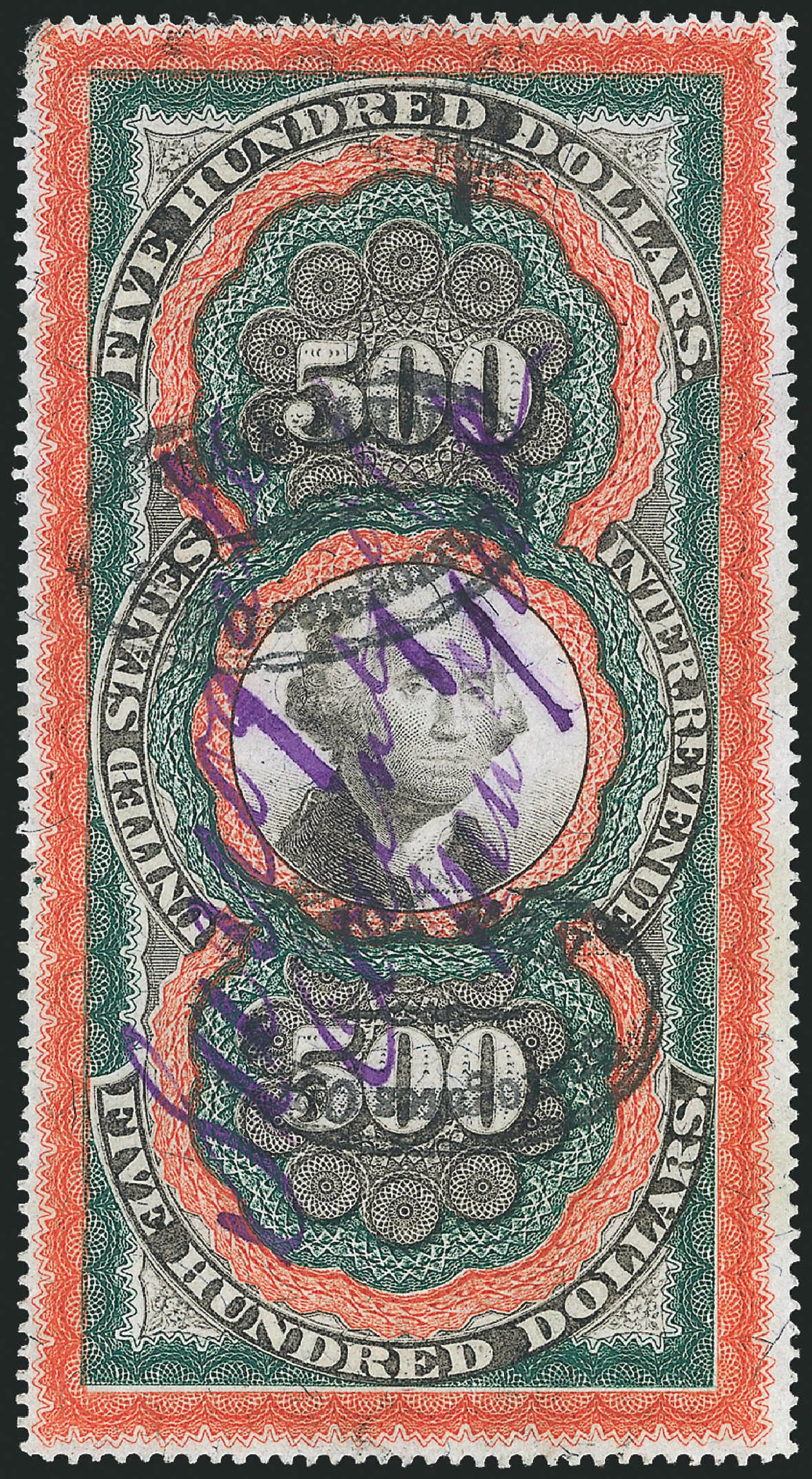 US Stamps Prices Scott Catalogue #R133: 1871 US$500.00 Revenue Documentary . Robert Siegel Auction Galleries, Mar 2014, Sale 1066, Lot 89