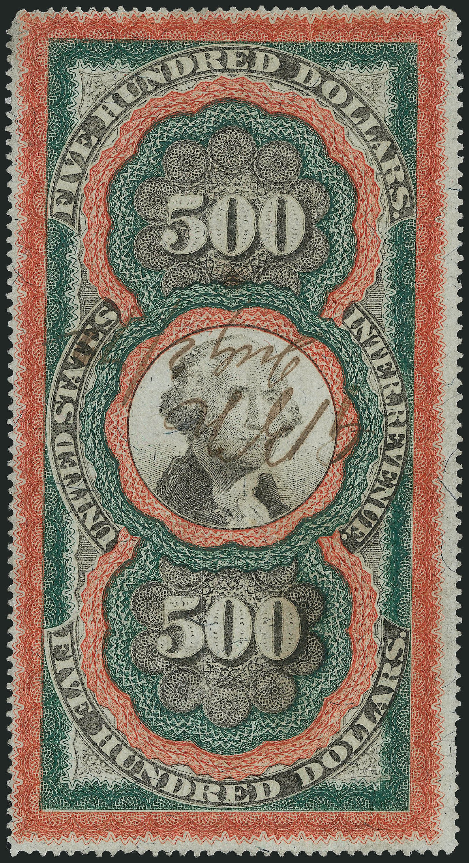 Prices of US Stamp Scott Catalog R133 - US$500.00 1871 Revenue Documentary . Robert Siegel Auction Galleries, Apr 2015, Sale 1096, Lot 979