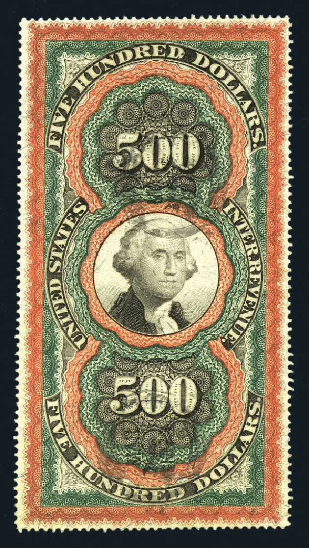 Price of US Stamps Scott Catalogue #R133 - 1871 US$500.00 Revenue Documentary . Harmer-Schau Auction Galleries, Aug 2015, Sale 106, Lot 2220