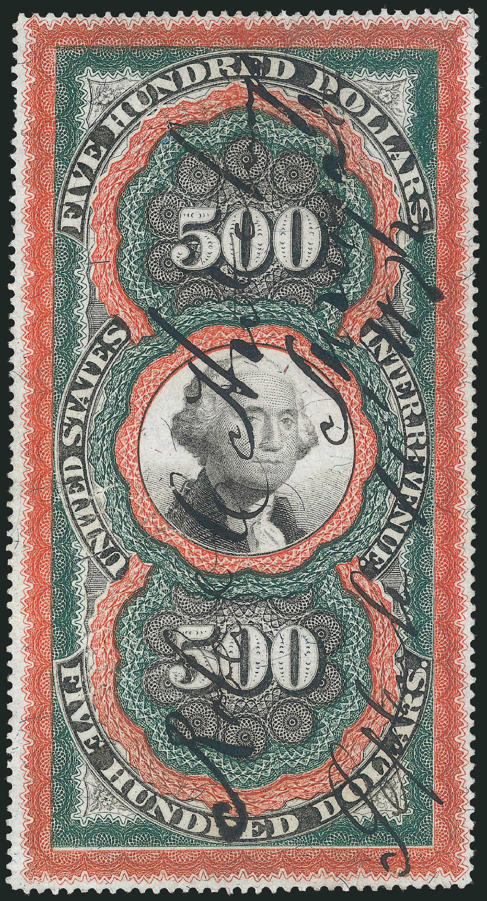 Cost of US Stamps Scott Catalogue # R133 - 1871 US$500.00 Revenue Documentary . Robert Siegel Auction Galleries, Jun 2015, Sale 1106, Lot 3171