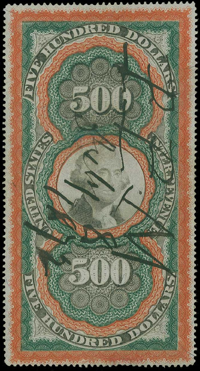 US Stamps Value Scott Cat. #R133: 1871 US$500.00 Revenue Documentary . H.R. Harmer, Jun 2015, Sale 3007, Lot 3554