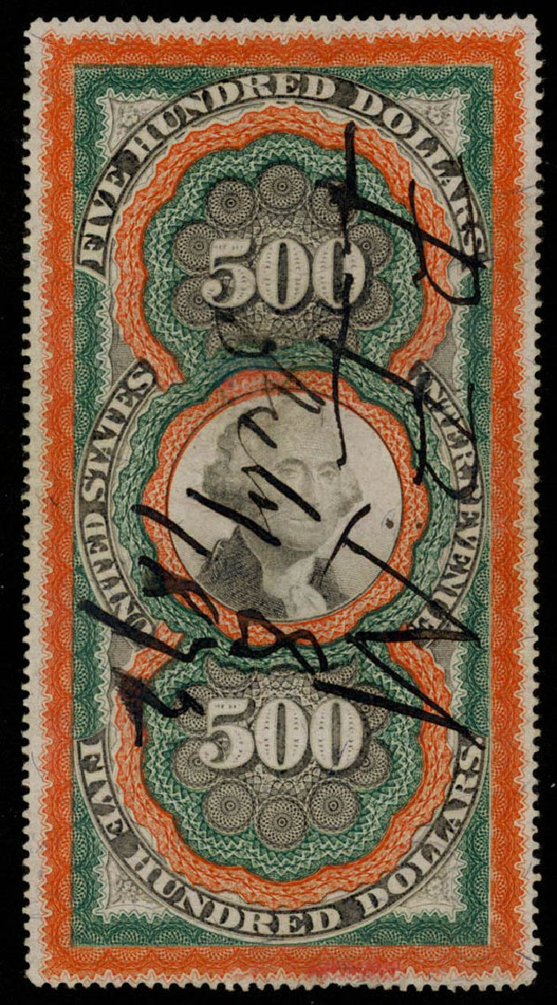 US Stamp Prices Scott R133: US$500.00 1871 Revenue Documentary . Daniel Kelleher Auctions, Apr 2013, Sale 636, Lot 644