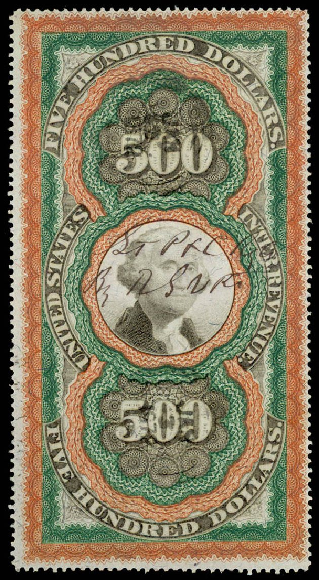 US Stamps Prices Scott #R133: US$500.00 1871 Revenue Documentary . Daniel Kelleher Auctions, Jun 2015, Sale 670, Lot 43