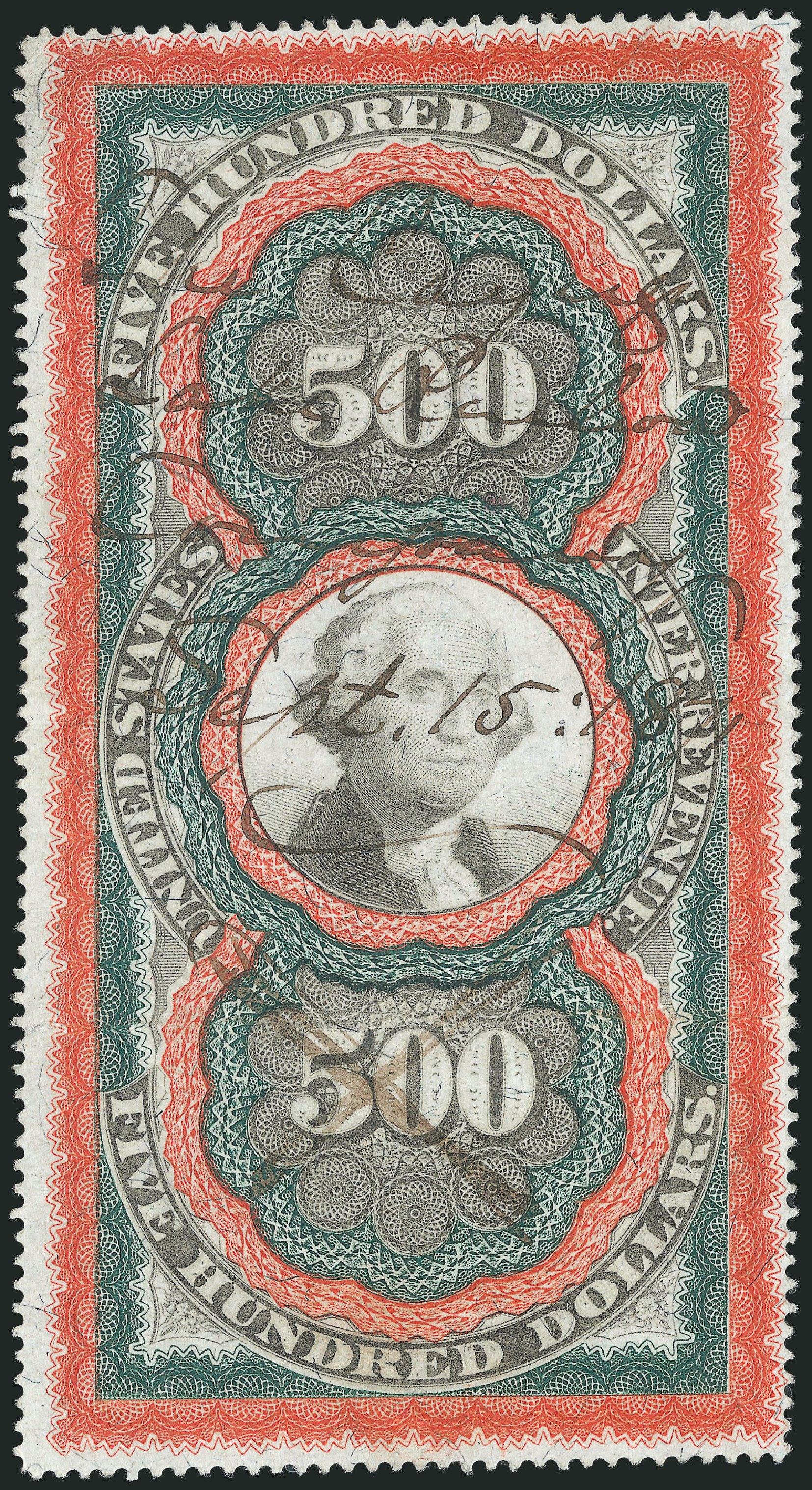 Values of US Stamps Scott Catalogue # R133: 1871 US$500.00 Revenue Documentary . Robert Siegel Auction Galleries, Oct 2012, Sale 1031, Lot 1043