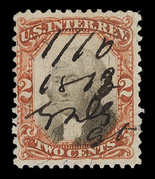 US Stamp Prices Scott Cat. R135 - 1872 2c Revenue Documentary . Cherrystone Auctions, Mar 2014, Sale 201403, Lot 127