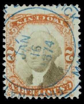 US Stamps Value Scott #R135: 1872 2c Revenue Documentary . Daniel Kelleher Auctions, Dec 2013, Sale 640, Lot 789