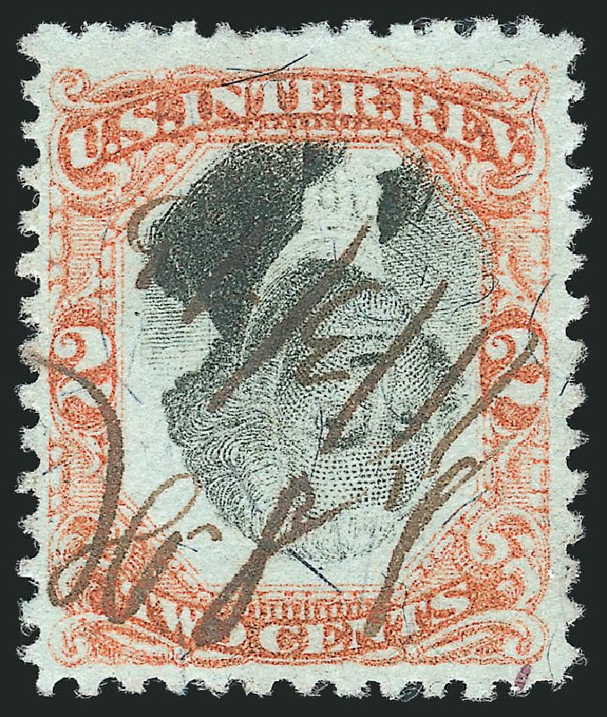 US Stamp Values Scott Cat. # R135: 1872 2c Revenue Documentary . Robert Siegel Auction Galleries, Mar 2014, Sale 1066, Lot 99