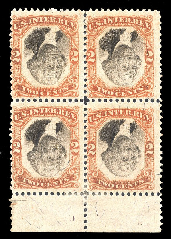 US Stamps Prices Scott Cat. #R135: 1872 2c Revenue Documentary . Cherrystone Auctions, Apr 2012, Sale 201204, Lot 180