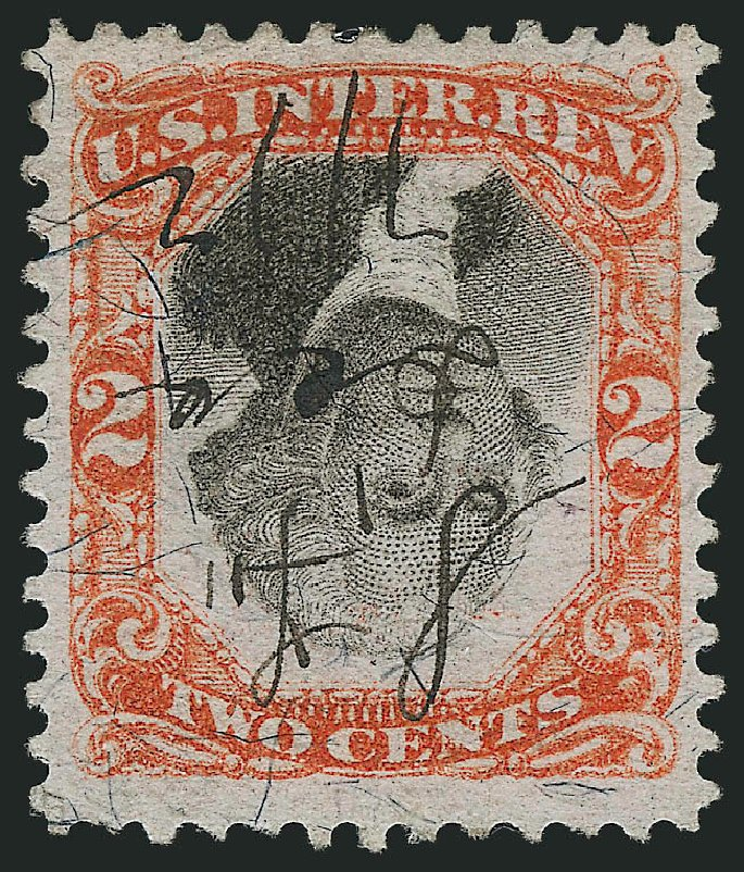 US Stamps Prices Scott Cat. R135 - 1872 2c Revenue Documentary . Robert Siegel Auction Galleries, Apr 2015, Sale 1096, Lot 990
