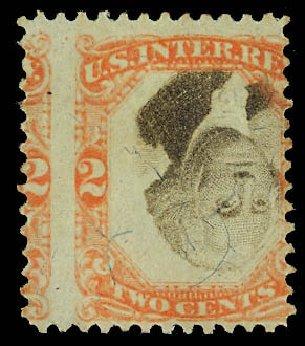 Values of US Stamp Scott Catalog #R135 - 1872 2c Revenue Documentary . Daniel Kelleher Auctions, Dec 2012, Sale 633, Lot 1131