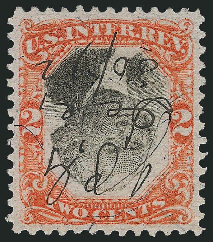 Value of US Stamp Scott Catalogue # R135 - 1872 2c Revenue Documentary . Robert Siegel Auction Galleries, Dec 2011, Sale 1017, Lot 1014