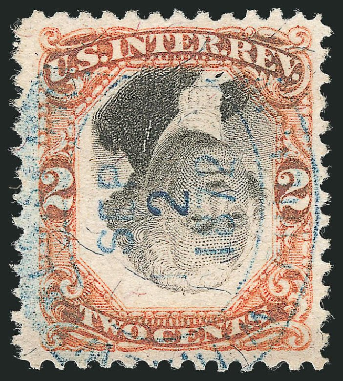 US Stamp Value Scott Cat. R135: 1872 2c Revenue Documentary . Robert Siegel Auction Galleries, Dec 2014, Sale 1089, Lot 524
