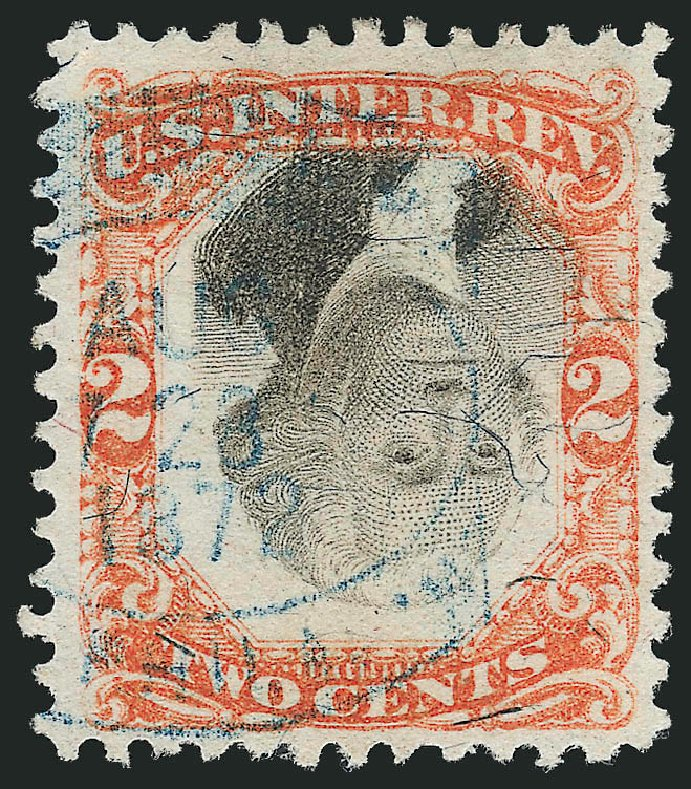 US Stamp Values Scott Catalogue #R135 - 1872 2c Revenue Documentary . Robert Siegel Auction Galleries, Mar 2014, Sale 1067, Lot 565