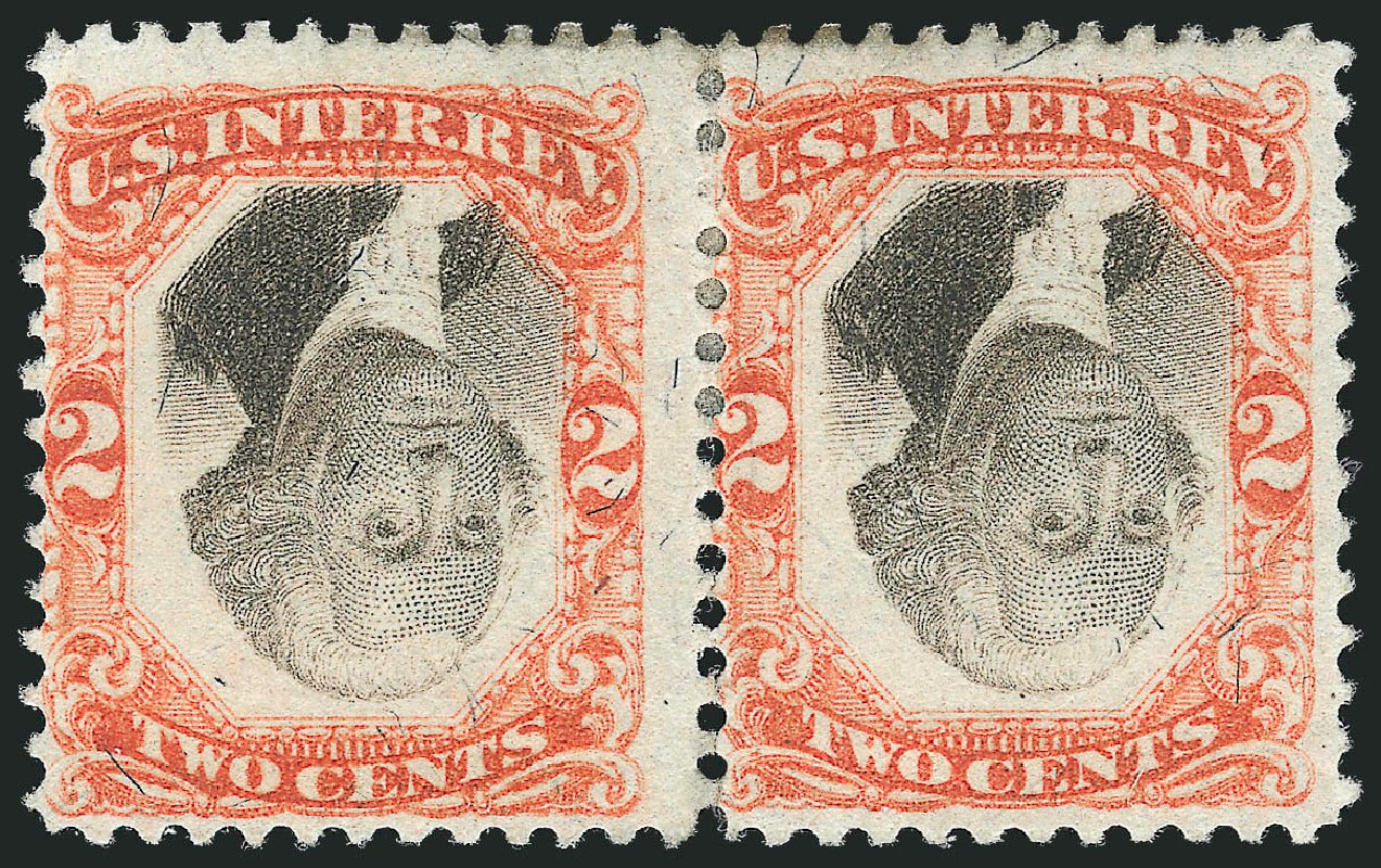 Values of US Stamps Scott Catalog #R135 - 1872 2c Revenue Documentary . Robert Siegel Auction Galleries, Dec 2014, Sale 1089, Lot 525