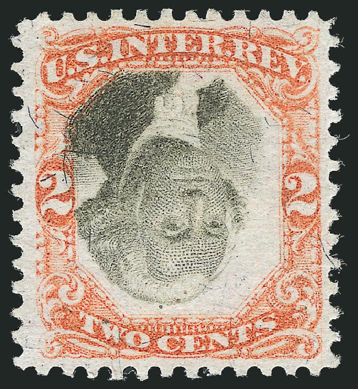 Values of US Stamp Scott Catalogue #R135: 1872 2c Revenue Documentary . Robert Siegel Auction Galleries, Dec 2014, Sale 1089, Lot 523