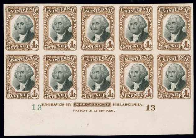 Price of US Stamp Scott # R136: 4c 1872 Revenue Documentary . Matthew Bennett International, Jun 2008, Sale 328, Lot 1344