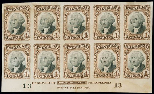 Values of US Stamp Scott Catalogue # R136: 1872 4c Revenue Documentary . Matthew Bennett International, Jun 2008, Sale 328, Lot 1345