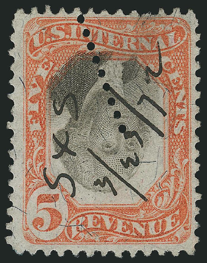 Cost of US Stamps Scott Catalogue # R137 - 1872 5c Revenue Documentary . Robert Siegel Auction Galleries, Mar 2014, Sale 1067, Lot 566