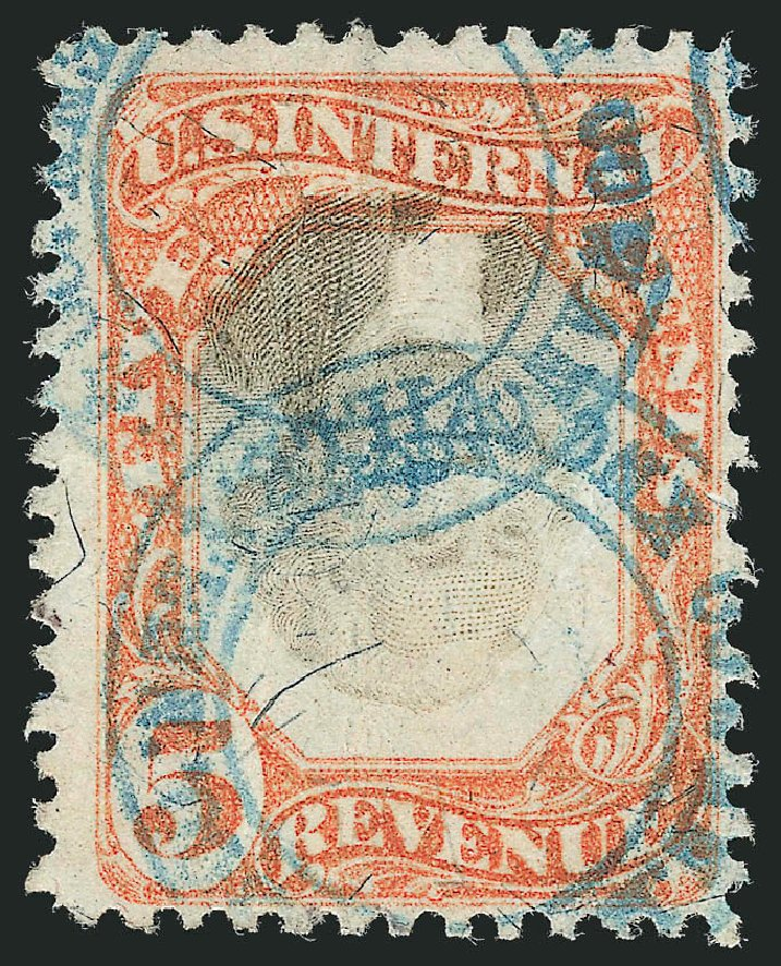 Costs of US Stamps Scott Cat. # R137: 1872 5c Revenue Documentary . Robert Siegel Auction Galleries, Dec 2014, Sale 1089, Lot 526