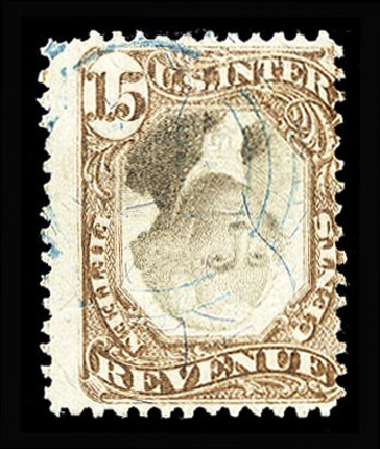 Costs of US Stamps Scott Catalog # R139: 1872 15c Revenue Documentary . Cherrystone Auctions, Jan 2015, Sale 201501, Lot 221