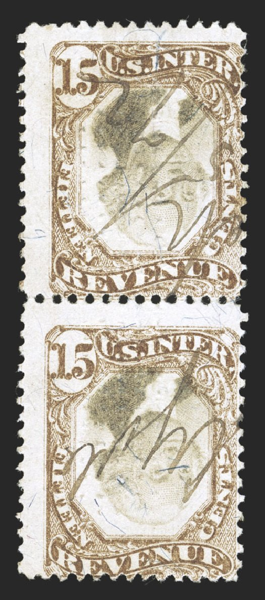 Value of US Stamps Scott Cat. R139: 15c 1872 Revenue Documentary . Spink Shreves Galleries, Jul 2012, Sale 140, Lot 395