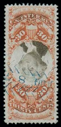 Price of US Stamps Scott Catalogue #R140: 1872 30c Revenue Documentary . Matthew Bennett International, Dec 2007, Sale 325, Lot 2623