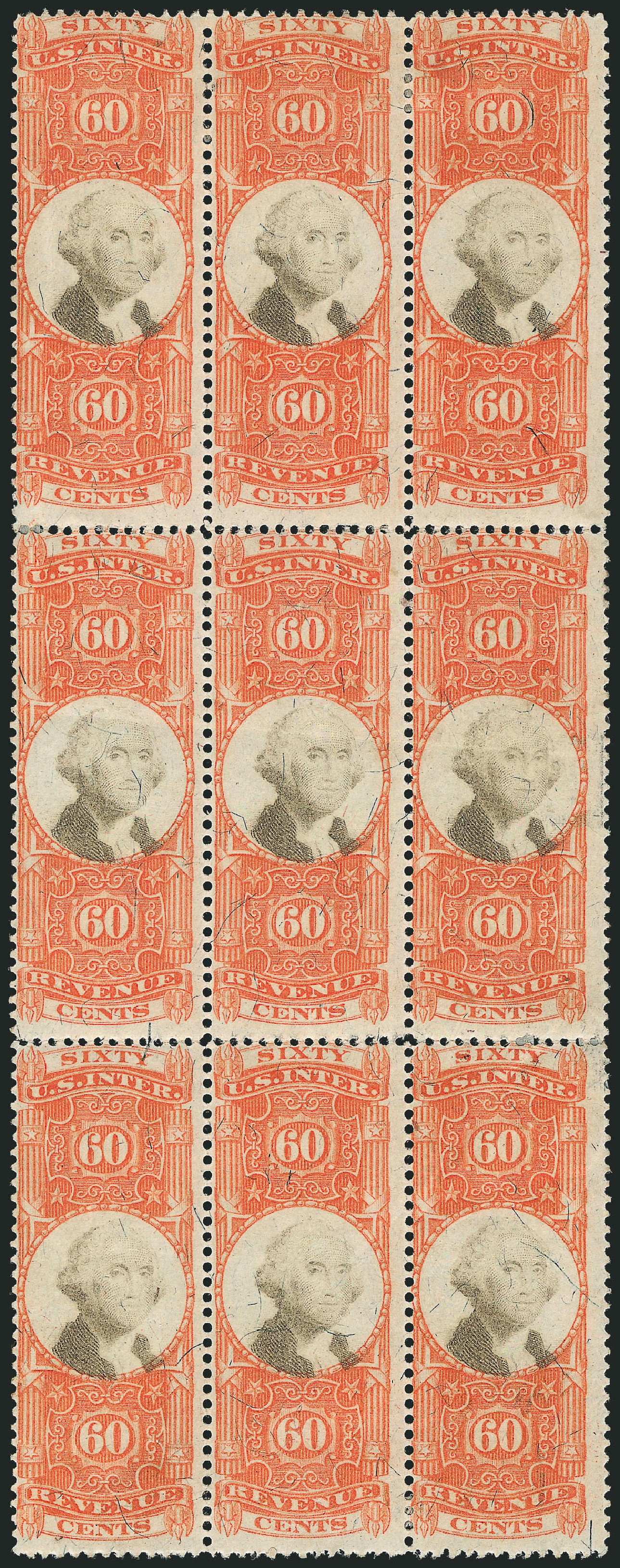 Costs of US Stamp Scott Catalogue #R142 - 60c 1872 Revenue Documentary . Robert Siegel Auction Galleries, Dec 2014, Sale 1089, Lot 515