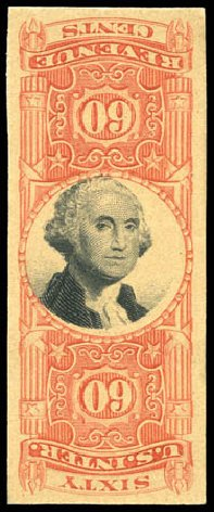 Values of US Stamps Scott Catalogue R142 - 1872 60c Revenue Documentary . Matthew Bennett International, Mar 2011, Sale 336, Lot 1472