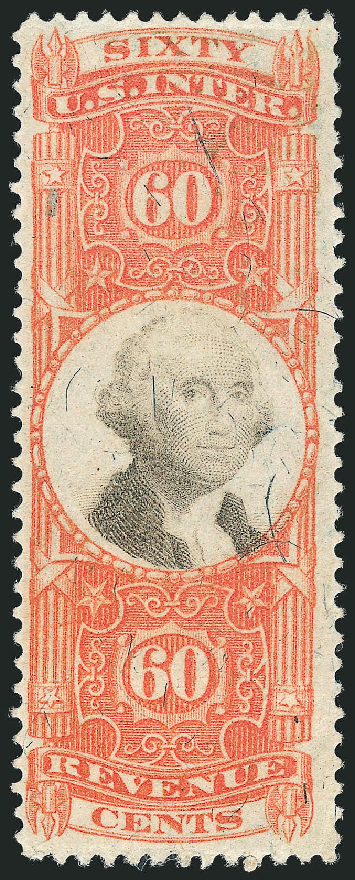Cost of US Stamp Scott Catalogue R142: 1872 60c Revenue Documentary . Robert Siegel Auction Galleries, Nov 2011, Sale 1015, Lot 92