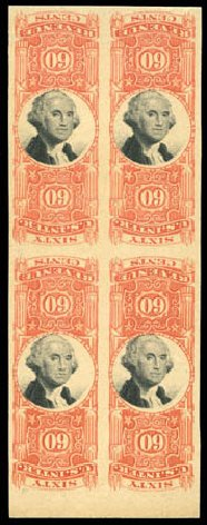 US Stamps Values Scott #R142: 60c 1872 Revenue Documentary . Matthew Bennett International, Mar 2011, Sale 336, Lot 1473
