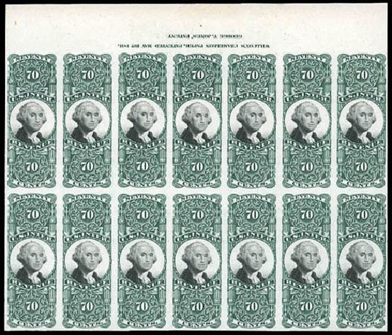 US Stamp Value Scott #R143 - 70c 1872 Revenue Documentary . Matthew Bennett International, Mar 2011, Sale 337, Lot 3295