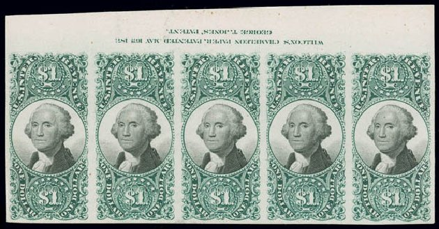 Values of US Stamps Scott Catalog # R144 - US$1.00 1872 Revenue Documentary . Matthew Bennett International, Jun 2008, Sale 328, Lot 1349