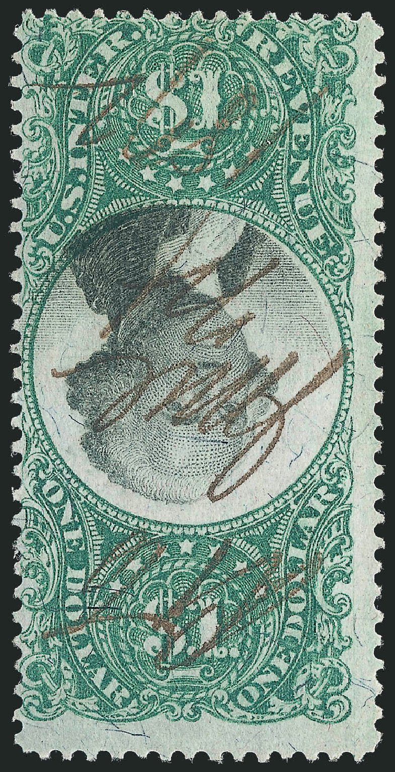 US Stamp Values Scott Catalogue # R144 - US$1.00 1872 Revenue Documentary . Robert Siegel Auction Galleries, Jun 2012, Sale 1025, Lot 281