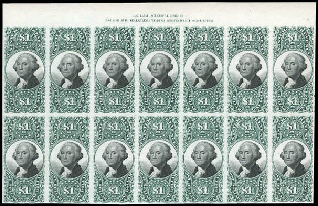 Values of US Stamps Scott Cat. # R144: 1872 US$1.00 Revenue Documentary . Matthew Bennett International, Mar 2011, Sale 337, Lot 3296