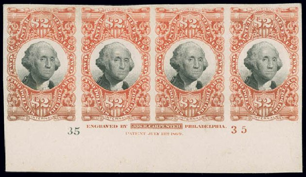 Cost of US Stamp Scott Cat. # R145 - 1872 US$2.00 Revenue Documentary . Matthew Bennett International, Jun 2008, Sale 328, Lot 1350