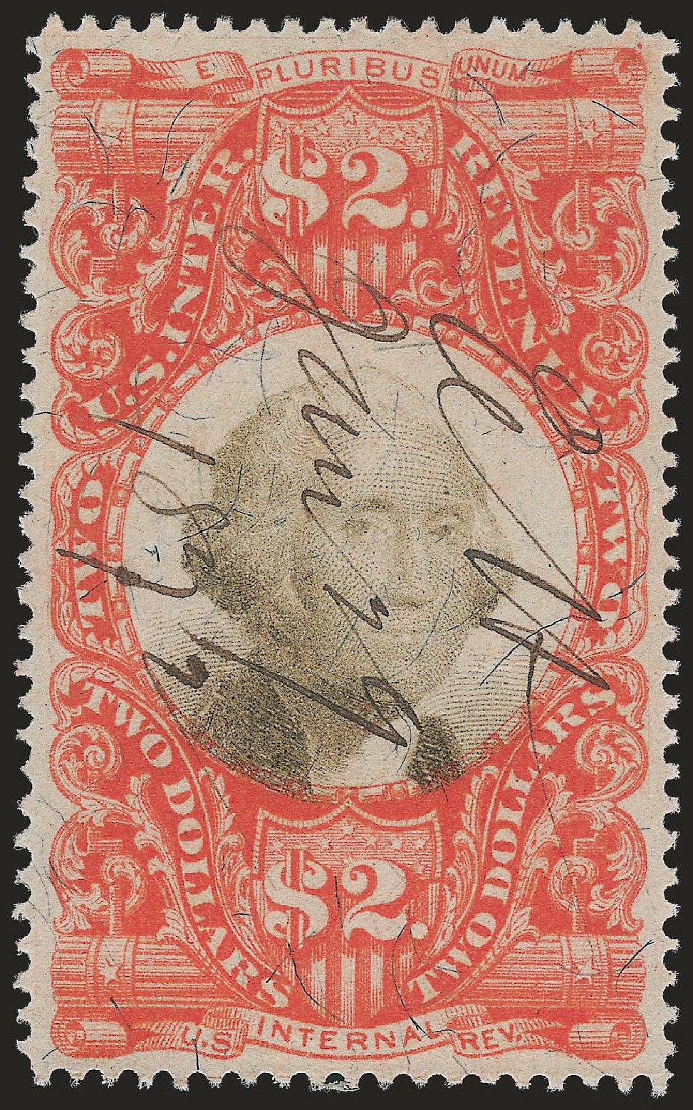 US Stamp Prices Scott Catalog #R145 - US$2.00 1872 Revenue Documentary . Robert Siegel Auction Galleries, Jun 2009, Sale 975, Lot 2305