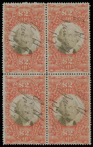 Prices of US Stamps Scott #R145: 1872 US$2.00 Revenue Documentary . Matthew Bennett International, Jun 2008, Sale 328, Lot 1403