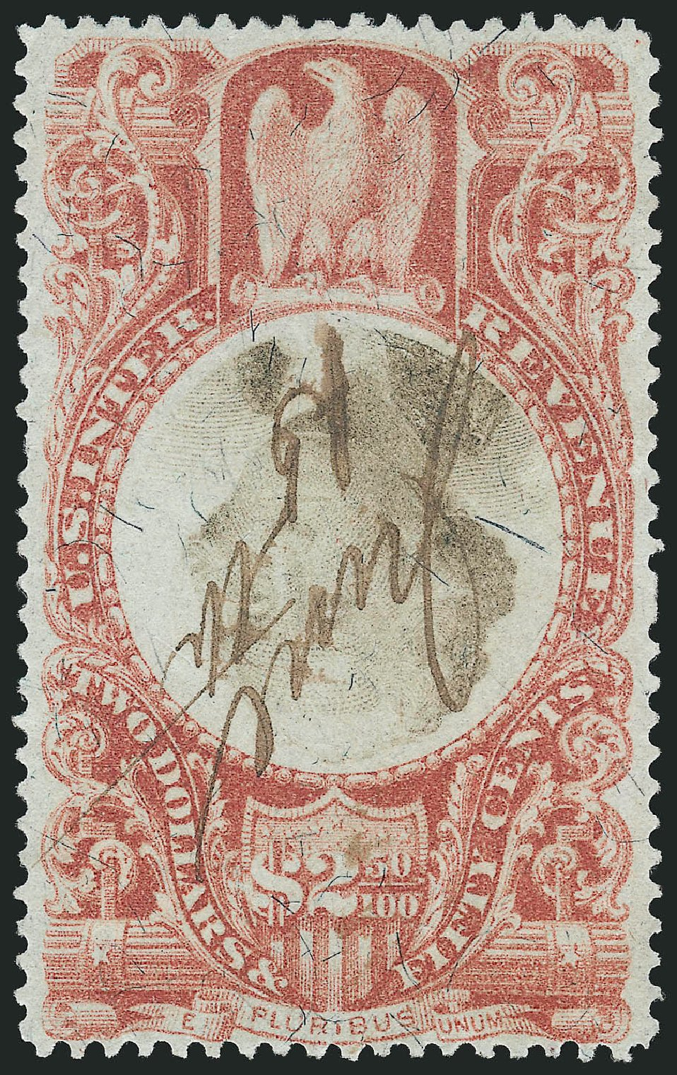 US Stamp Value Scott Cat. R146: 1872 US$2.50 Revenue Documentary . Robert Siegel Auction Galleries, Mar 2014, Sale 1066, Lot 101