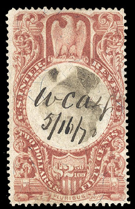 Cost of US Stamps Scott Catalog #R146: 1872 US$2.50 Revenue Documentary . Cherrystone Auctions, Apr 2010, Sale 201004, Lot 344