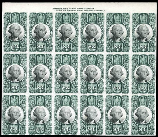 Cost of US Stamps Scott Catalog #R147 - US$3.00 1872 Revenue Documentary . Matthew Bennett International, Mar 2011, Sale 337, Lot 3298