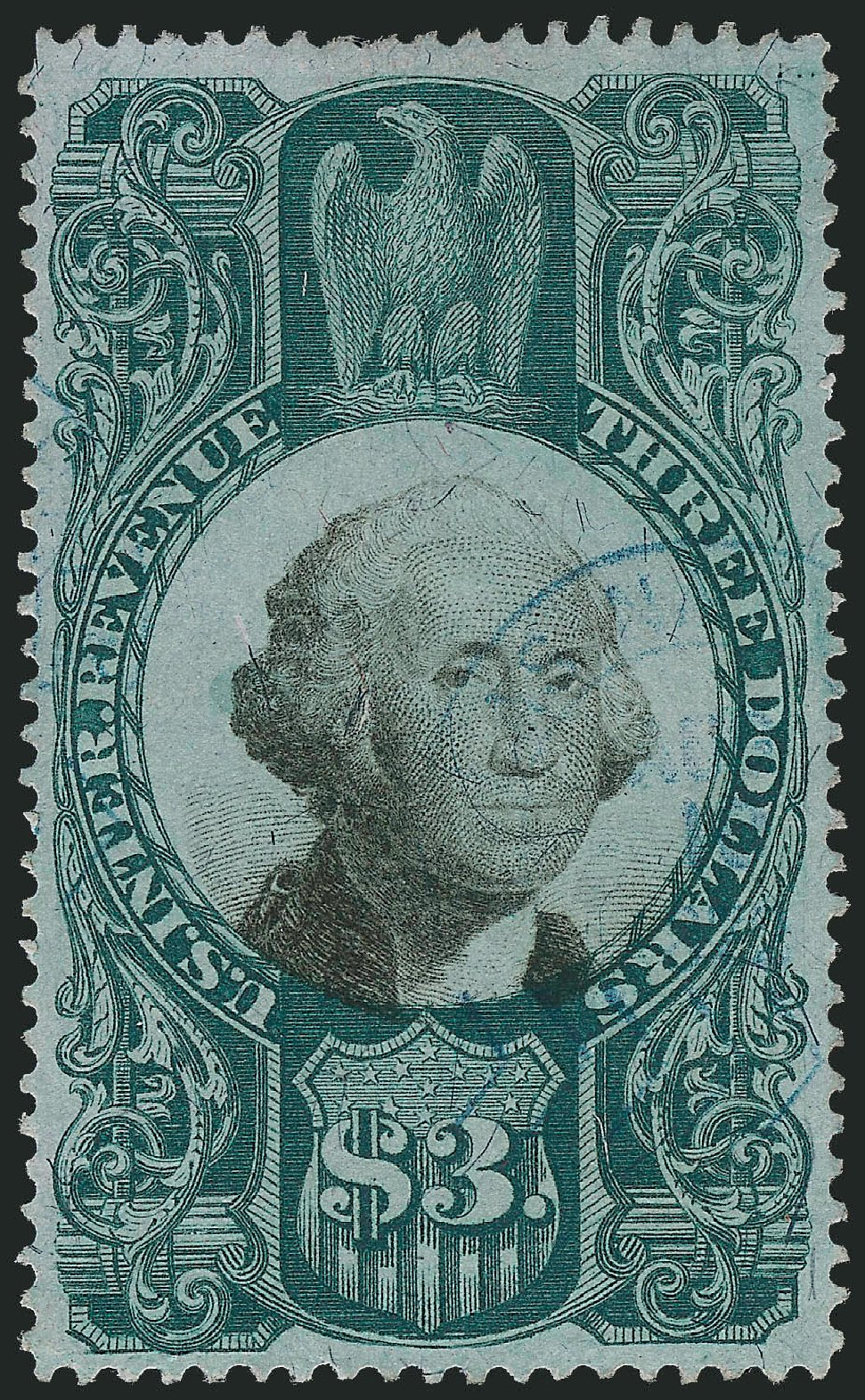 US Stamp Price Scott Catalogue #R147 - 1872 US$3.00 Revenue Documentary . Robert Siegel Auction Galleries, Dec 2009, Sale 978, Lot 1178