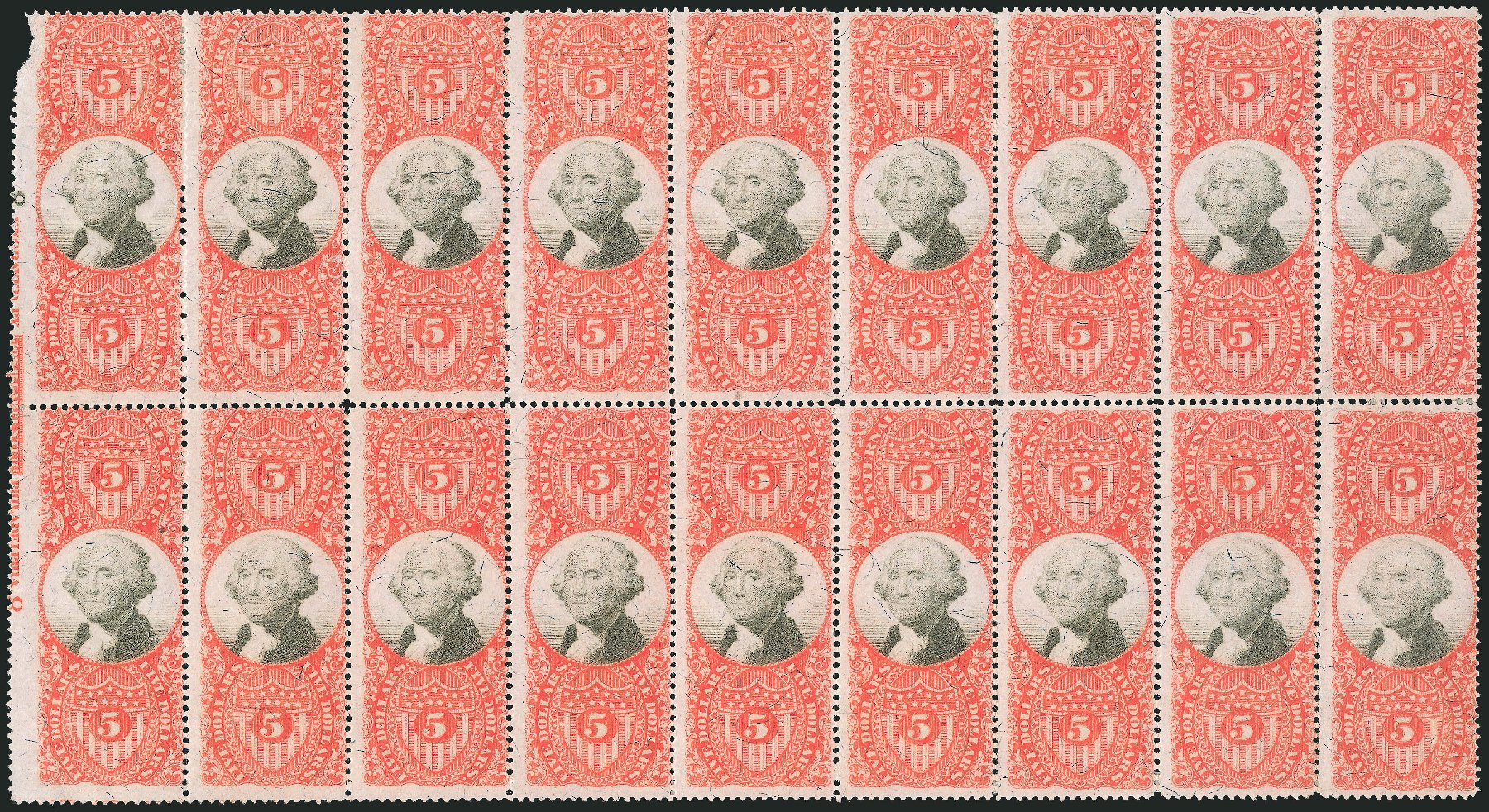 Prices of US Stamps Scott Catalog R148 - US$5.00 1872 Revenue Documentary . Robert Siegel Auction Galleries, Dec 2014, Sale 1089, Lot 517